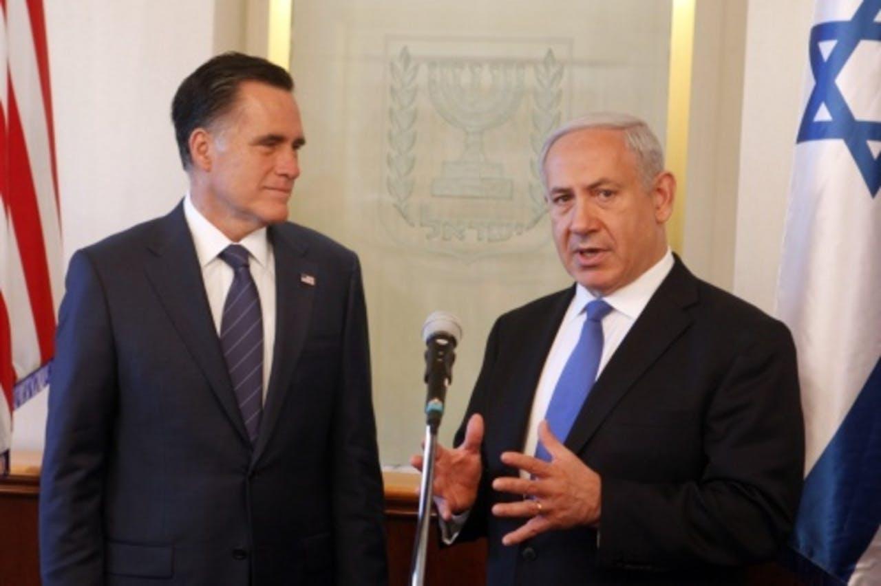 Mitt Romney met Benjamin Netanyahu. EPA