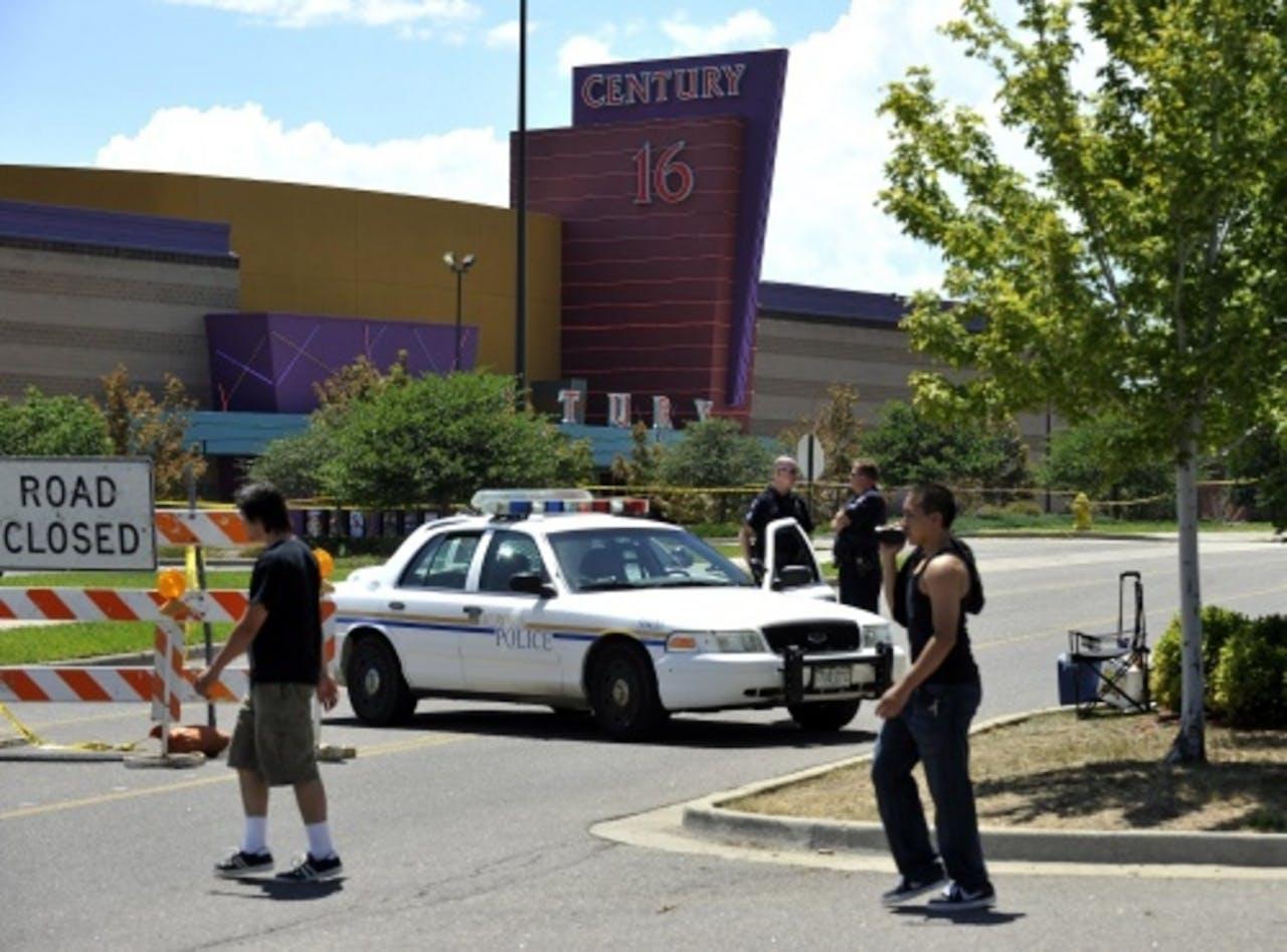 De bioscoop in Colorado waar een man vorige week een bloedbad aanrichtte. EPA