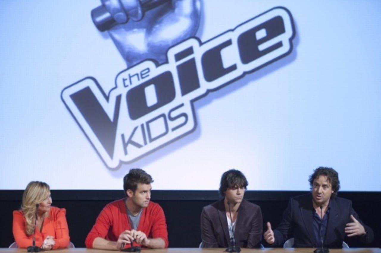 De juryleden van The Voice Kids Angela Groothuizen, Nick & Simon en Marco Borsato (VLNR). ANP Kippa