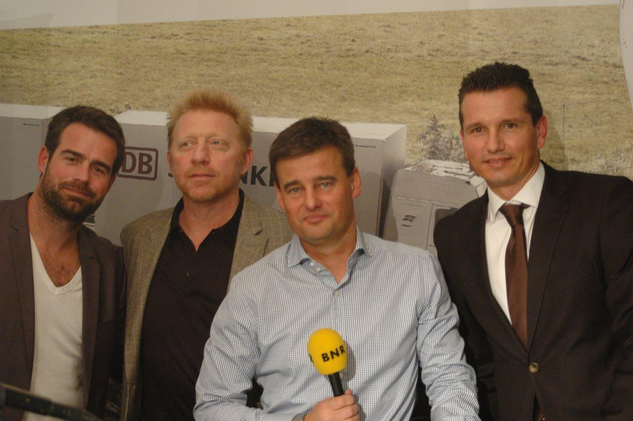 Raemon Sluiter, Boris Becker, Wilfred Genee en Richard Krajicek