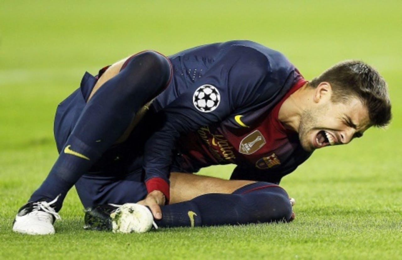 Tegen Spartak Moskou raakte Gerard Piqué van Barcelona geblesseerd. EPA