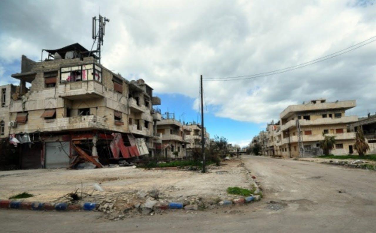 Archiefbeeld van verwoeste straten in Syrië. EPA
