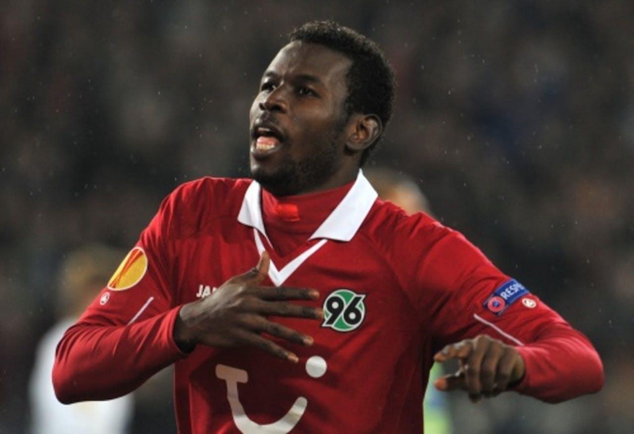 Mame Diouf van Hannover 96 viert zijn 1-0 tegen Helsingborgs IF. EPA