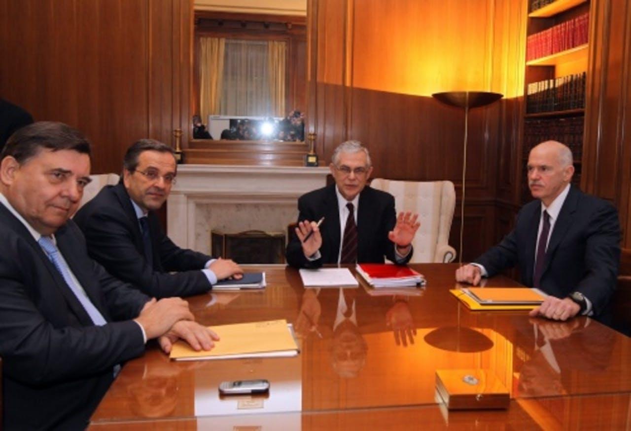 De leiders van de Griekse partijen. EPA
