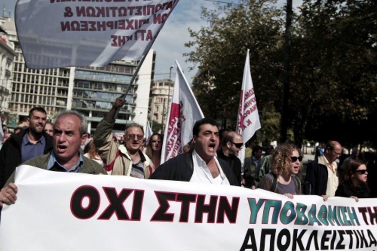 Grieken tijdens een vorige staking. EPA