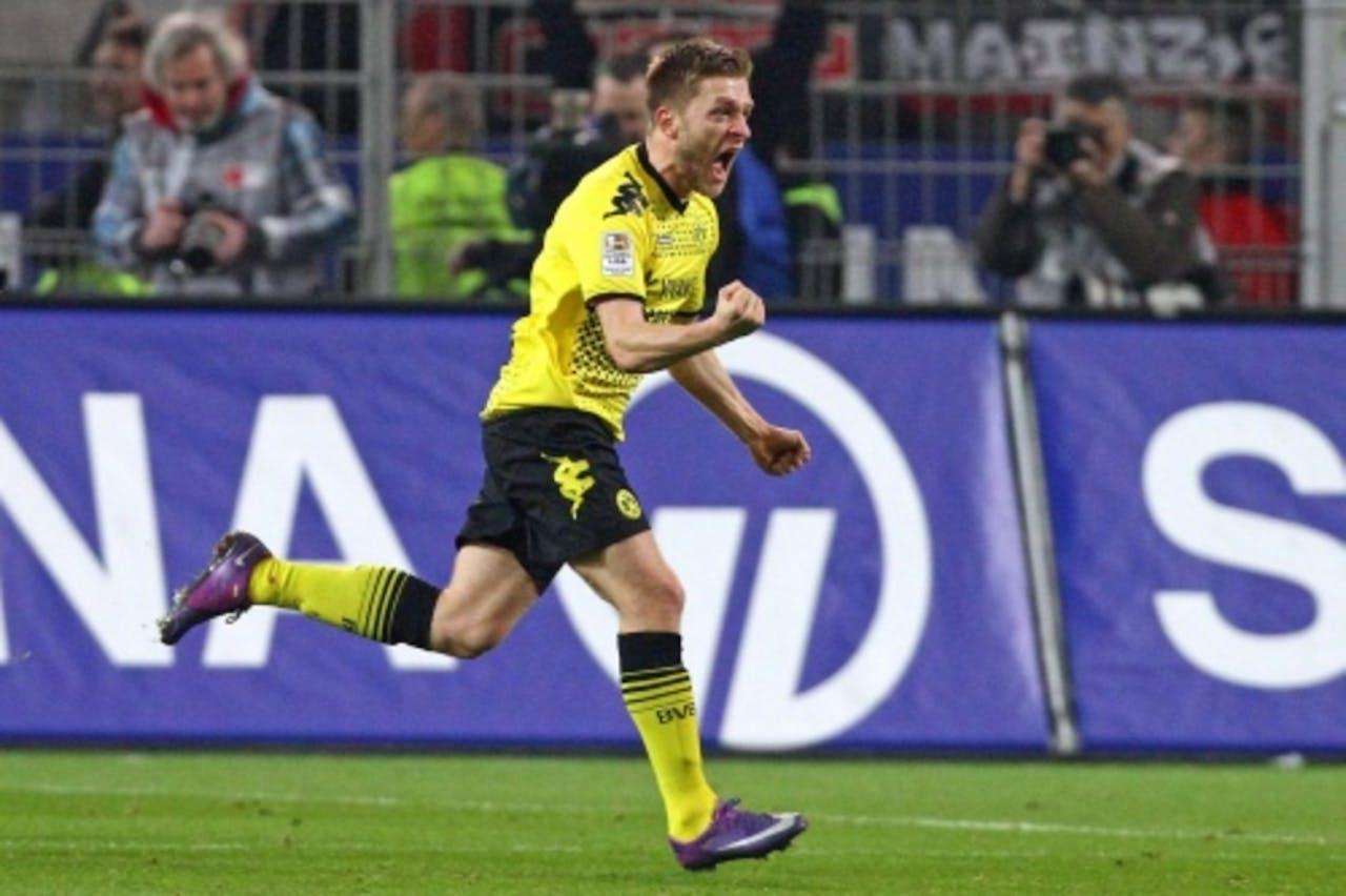 Jakub Blaszczykowski van Dortmund viert zijn goal tegen FSV Mainz. EPA