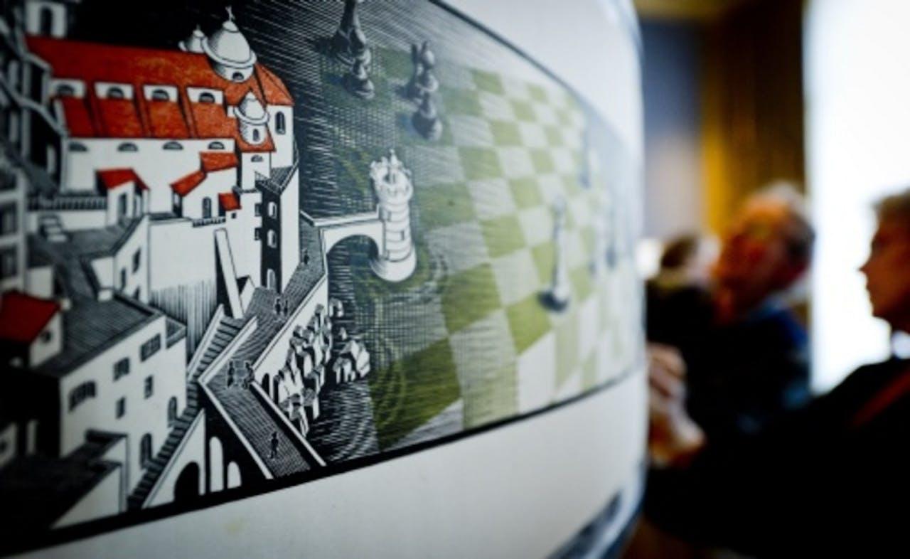 Het kunstwerk Metamorphose III van Maurits Cornelis Escher. ANP