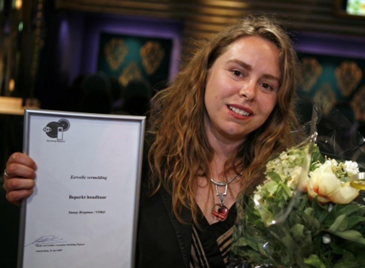 Sunny Bergman tijdens uitreiking Nipkowschijf 2007. ANP