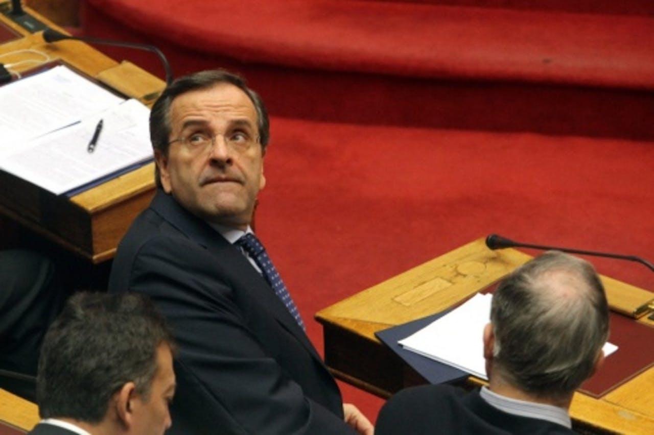 De leider van de conservatieve Griekse regeringspartij Nieuwe Democratie, Antonis Samaras. EPA