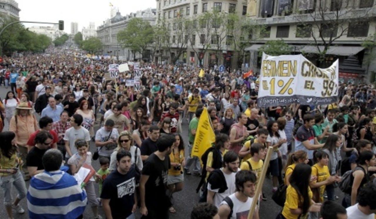 Spanjaarden in protest. EPA