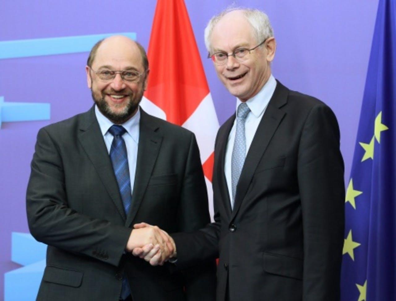 Schulz en Van Rompuy. EPA