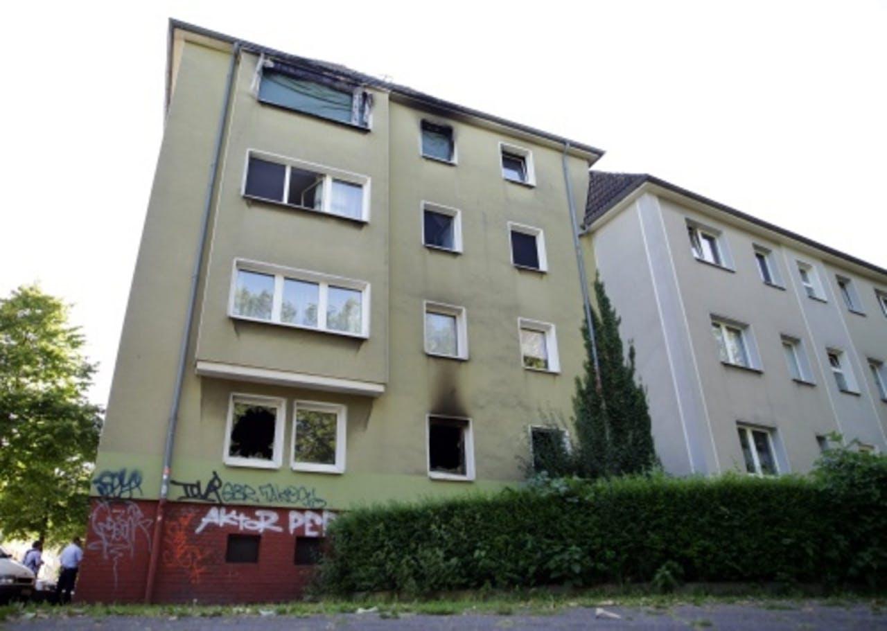 Het appartement waar de brand plaatsvond. EPA