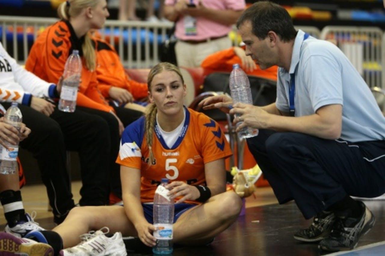 Jessy Kramer (L) met coach Henk Groener (R). EPA