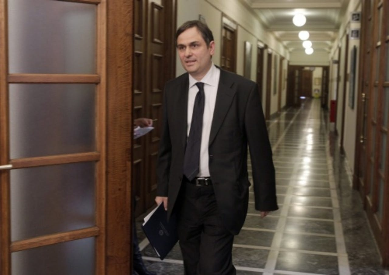 De Griekse minister van Financiën Filippos Sachinidis. EPA