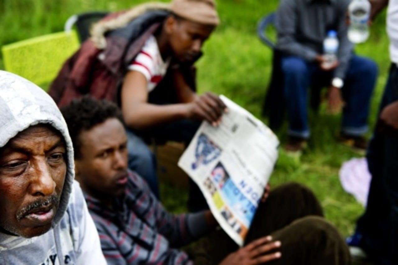 Vluchtelingen in tentenkamp Ter Apel. ANP