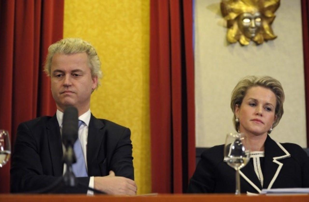 Archiefbeeld van PVV-leider Geert Wilders en voorzitter Laurence Stassen van de PVV Statenfractie. ANP