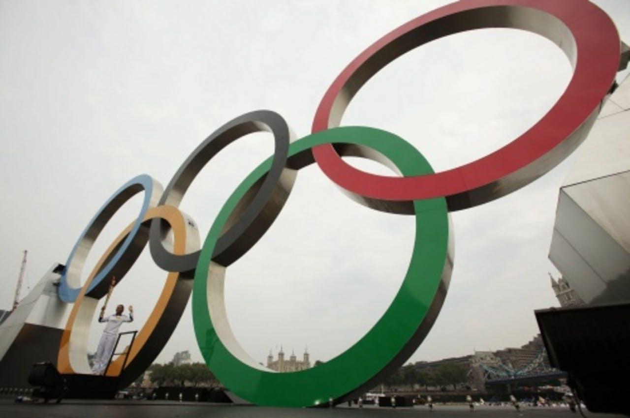 De olympische ringen in Londen. EPA