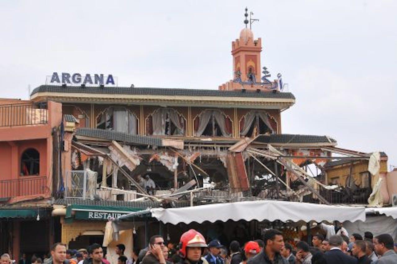 Het getroffen café-restaurant Argana. EPA