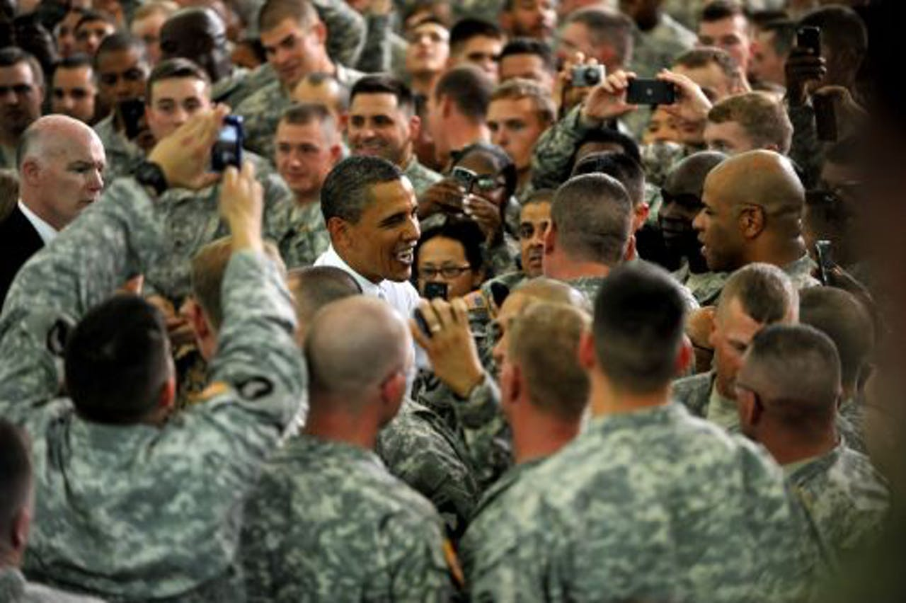 Barack Obama bezoekt Fort Campbell, Kentucky. EPA