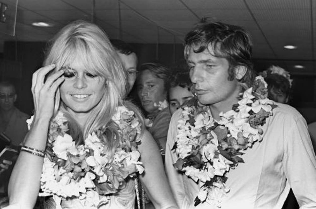 Gunter Sachs en Brigitte Bardot (archieffoto 1966). AFP