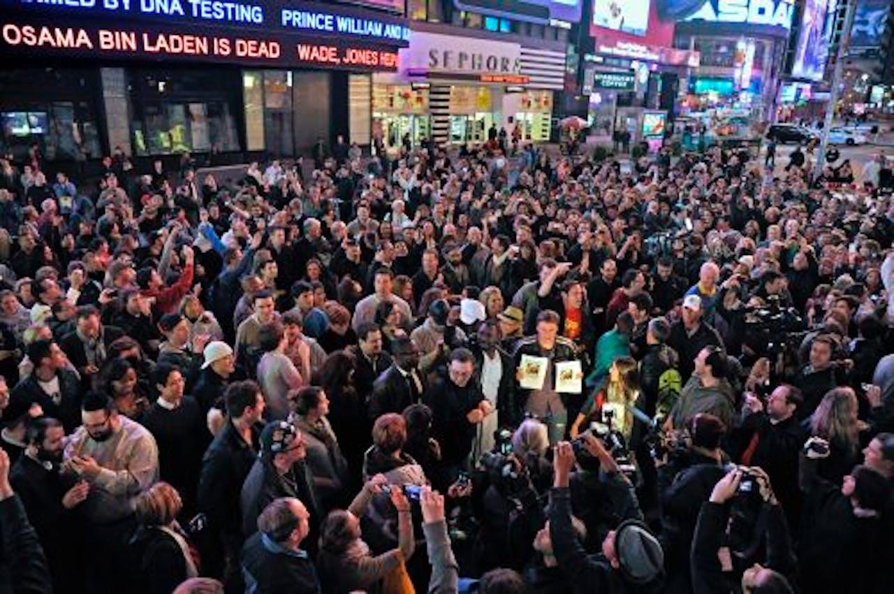 De menigte op Times Square. EPA