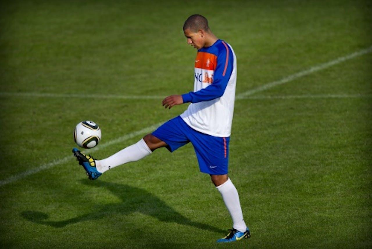 Jeffrey Bruma tijdens een training van het Nederlands elftal. ANP