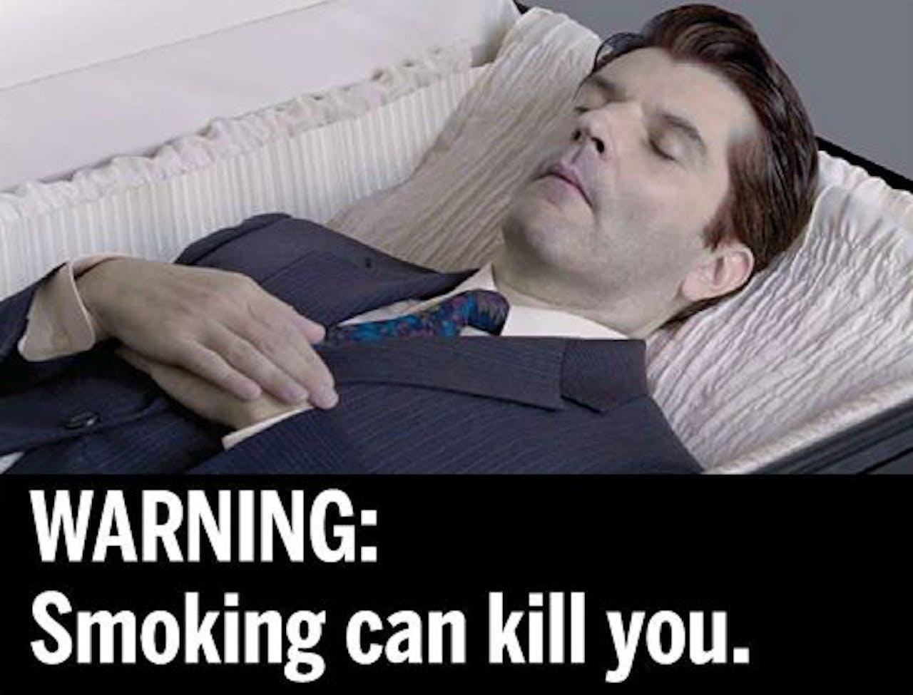 Een van de waarschuwingsfoto's. AFP