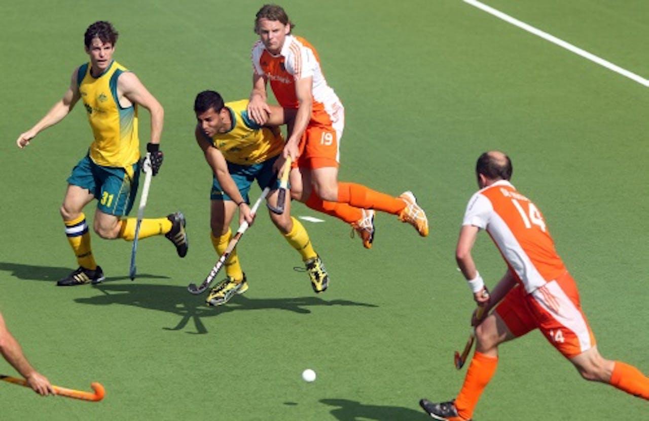 Beeld uit de wedstrijd van Nederland tegen Australië. AFP