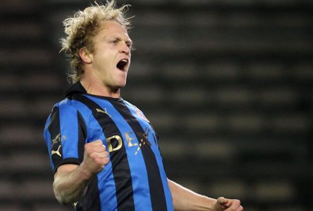 Björn Vleminckx van Club Brugge maakte de enige goal tegen Sint-Truiden. EPA