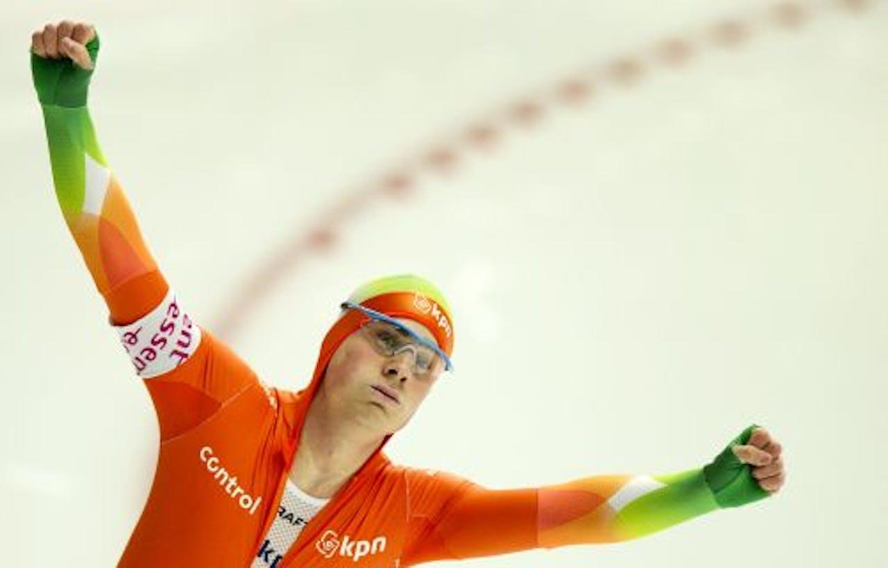 Jan Smeekens na zijn eerste 500 meter. ANP