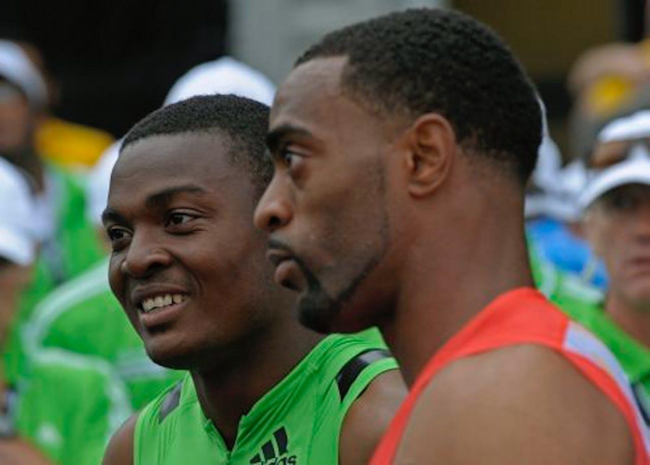 Steve Mullings (R) en Tyson Gay tijdens de IAAF Diamond League Adidas Grand Prix (archieffoto 11 juni 2011). EPA