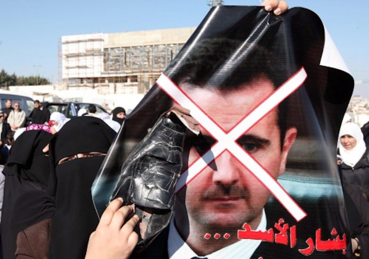 Demonstratie tegen Bashar al-Assad in Jordanië, eerder deze week. EPA