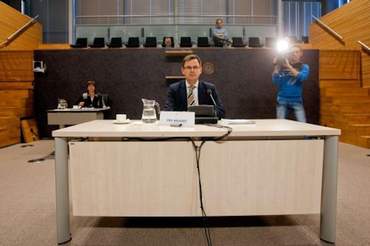 Oud-vicepremier André Rouvoet tijdens het verhoor van de parlementaire enquetecommissie. ANP