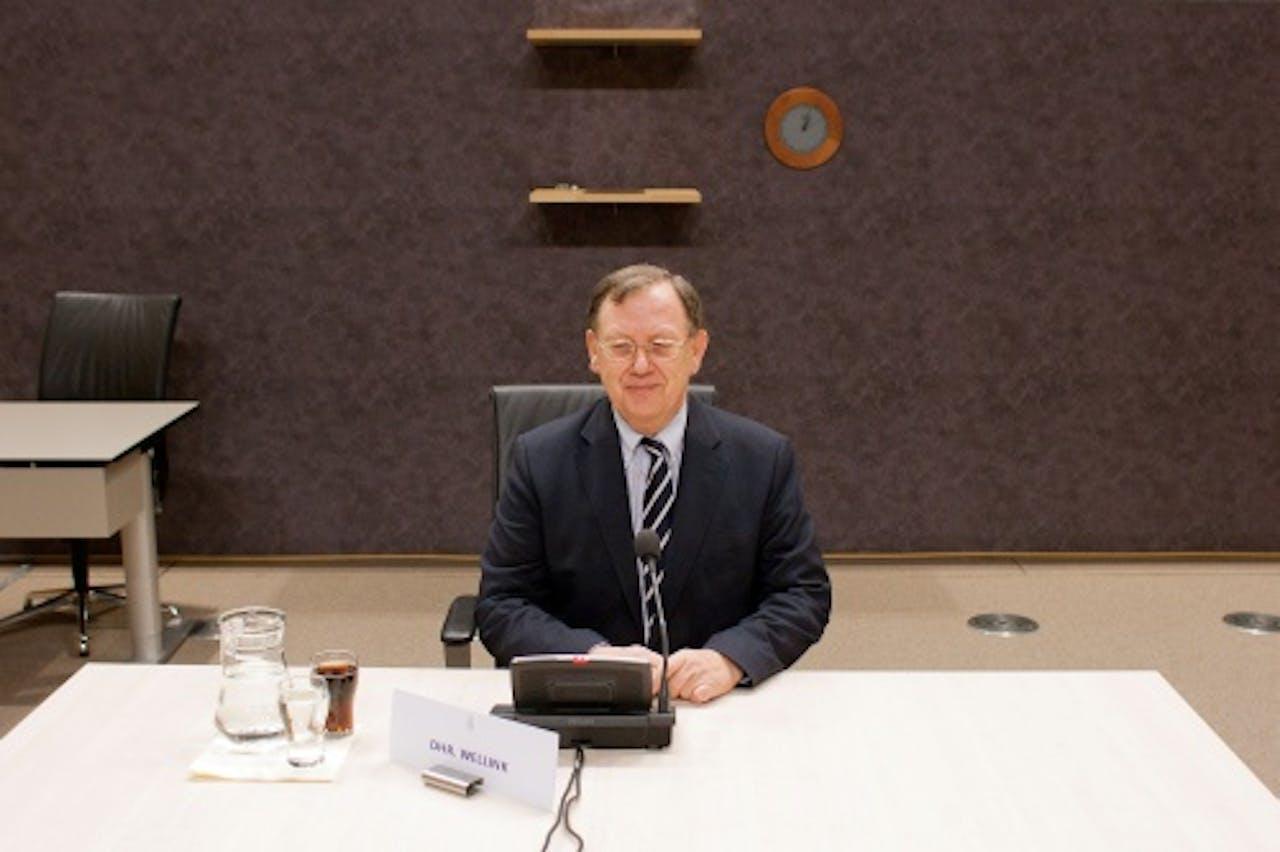Nout Wellink tijdens het verhoor van de parlementaire enquetecommissie. ANP