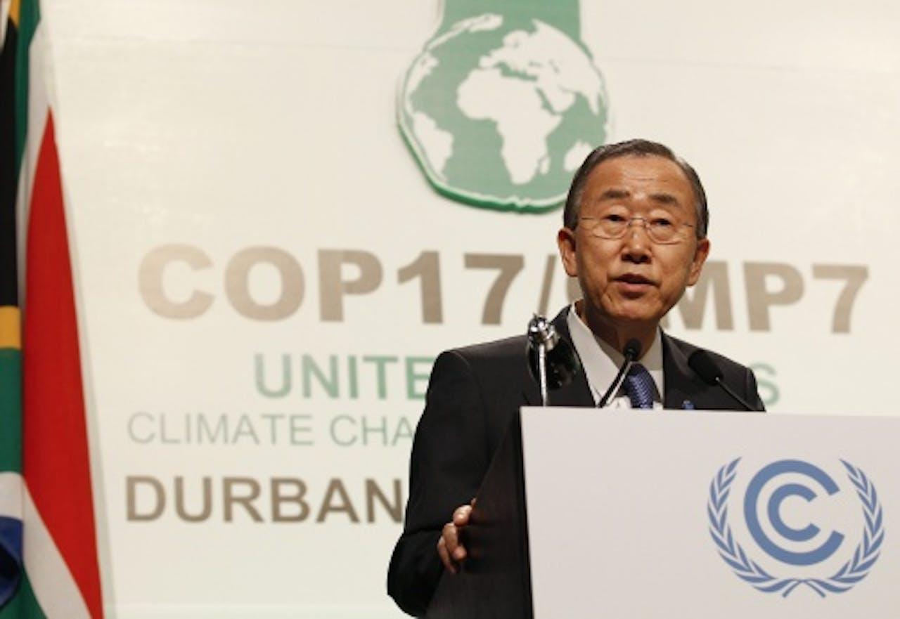 VN-baas Ban Ki-Moon op de klimaattop. EPA