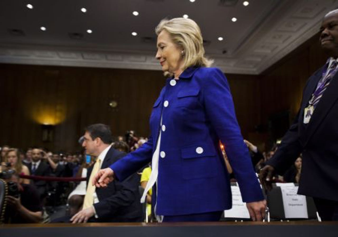 Hillary Clinton tijdens de hoorzitting in het Congres. EPA