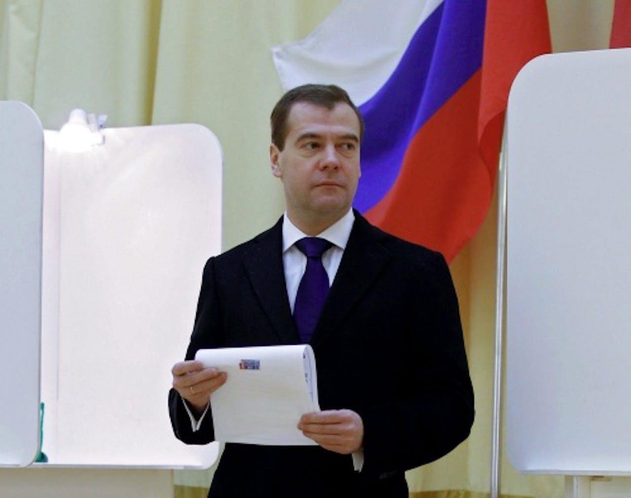 Ook de Russische president Dmitri Medvedev heeft zijn stem uitgebracht. EPA