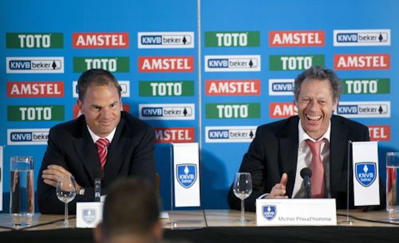 Coaches Frank de Boer van Ajax en Michel Preud'homme van FC Twente. ANP