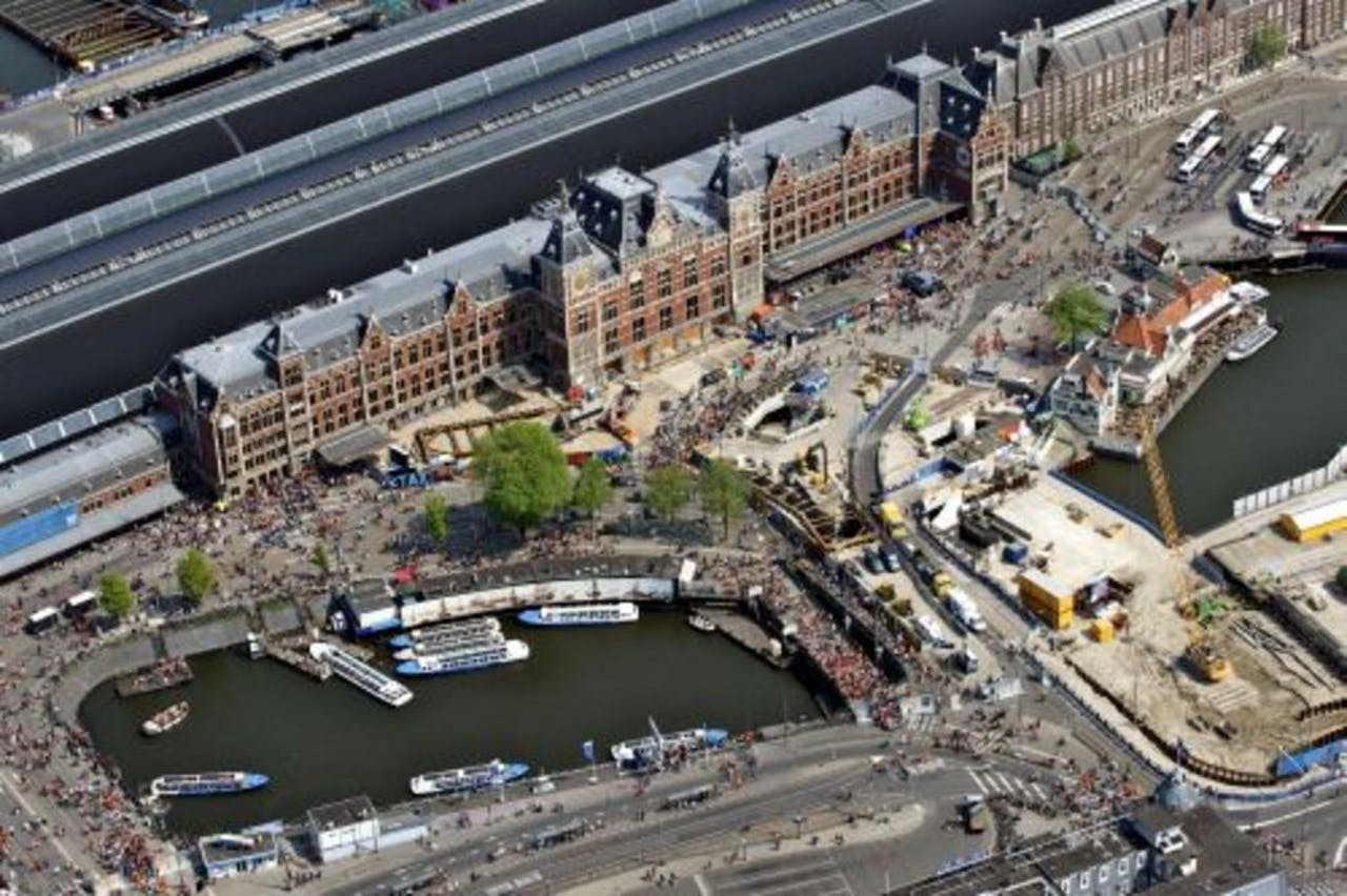 Het Centraal Station vanuit de lucht. ANP.