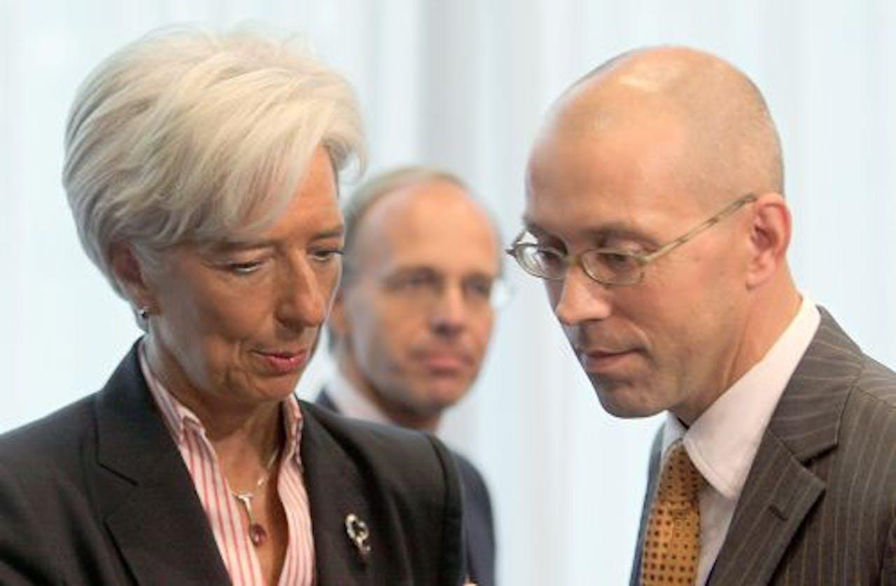 Jörg Asmussen (r) naast IMF-baas Christine Lagarde. EPA