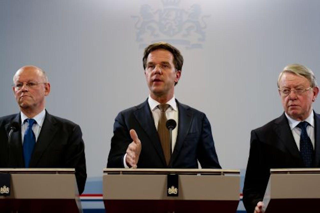 Minister-president Rutte (midden). ANP