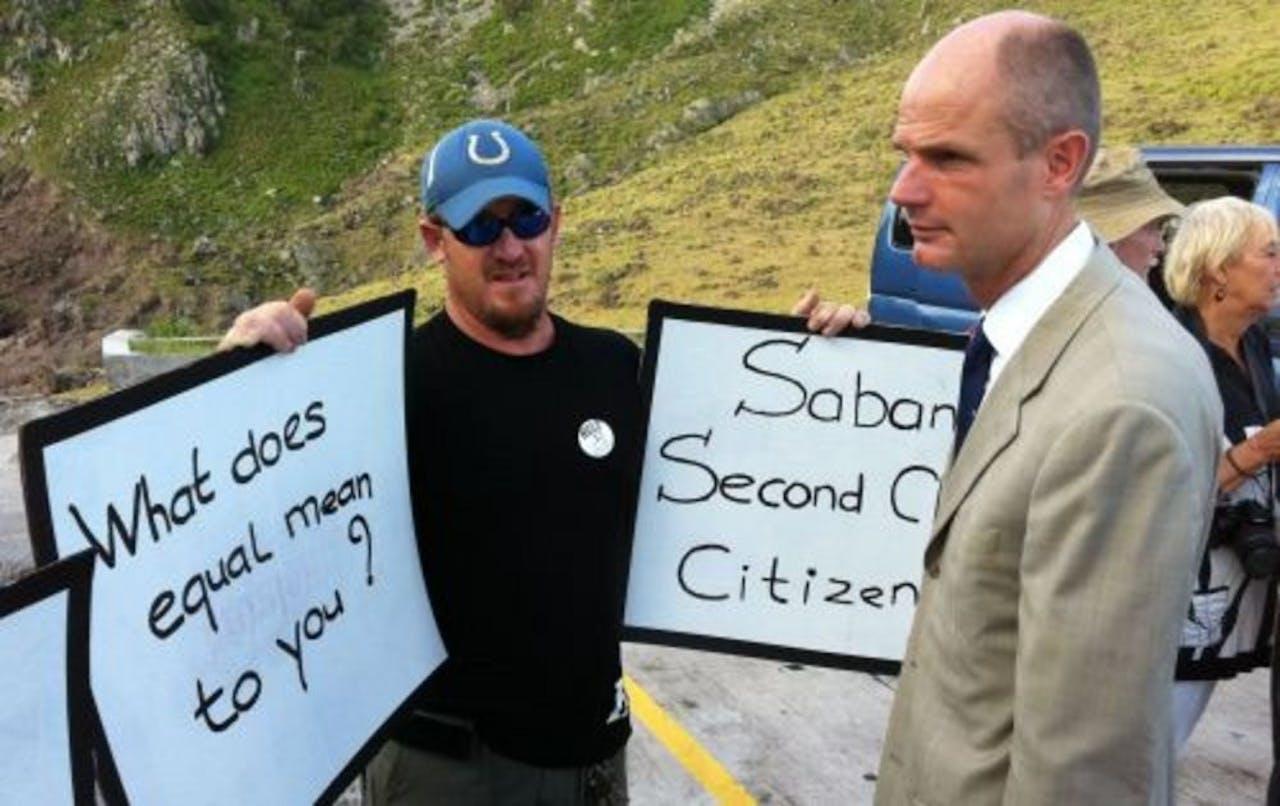 VVD-fractievoorzitter Stef Blok tijdens zijn bezoek aan Saba. ANP