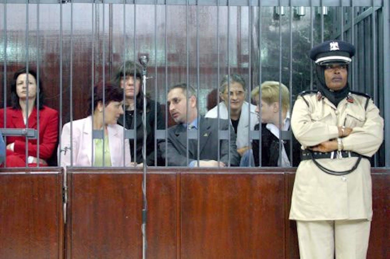 De vijf Bulgaarse verpleegsters en Palestijns-Bulgaarse arts in 2006. EPA