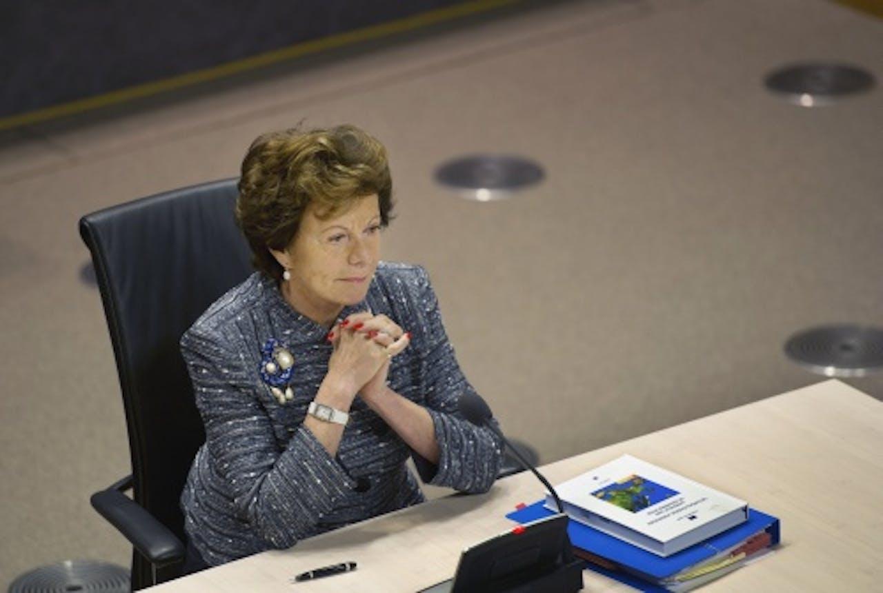 Neelie Kroes voor de Parlementaire enquêtecommissie. ANP
