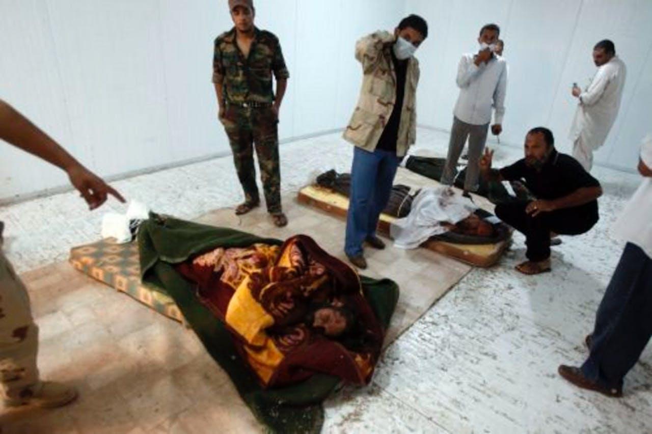 Het lichaam van Muammar Kaddafi. EPA