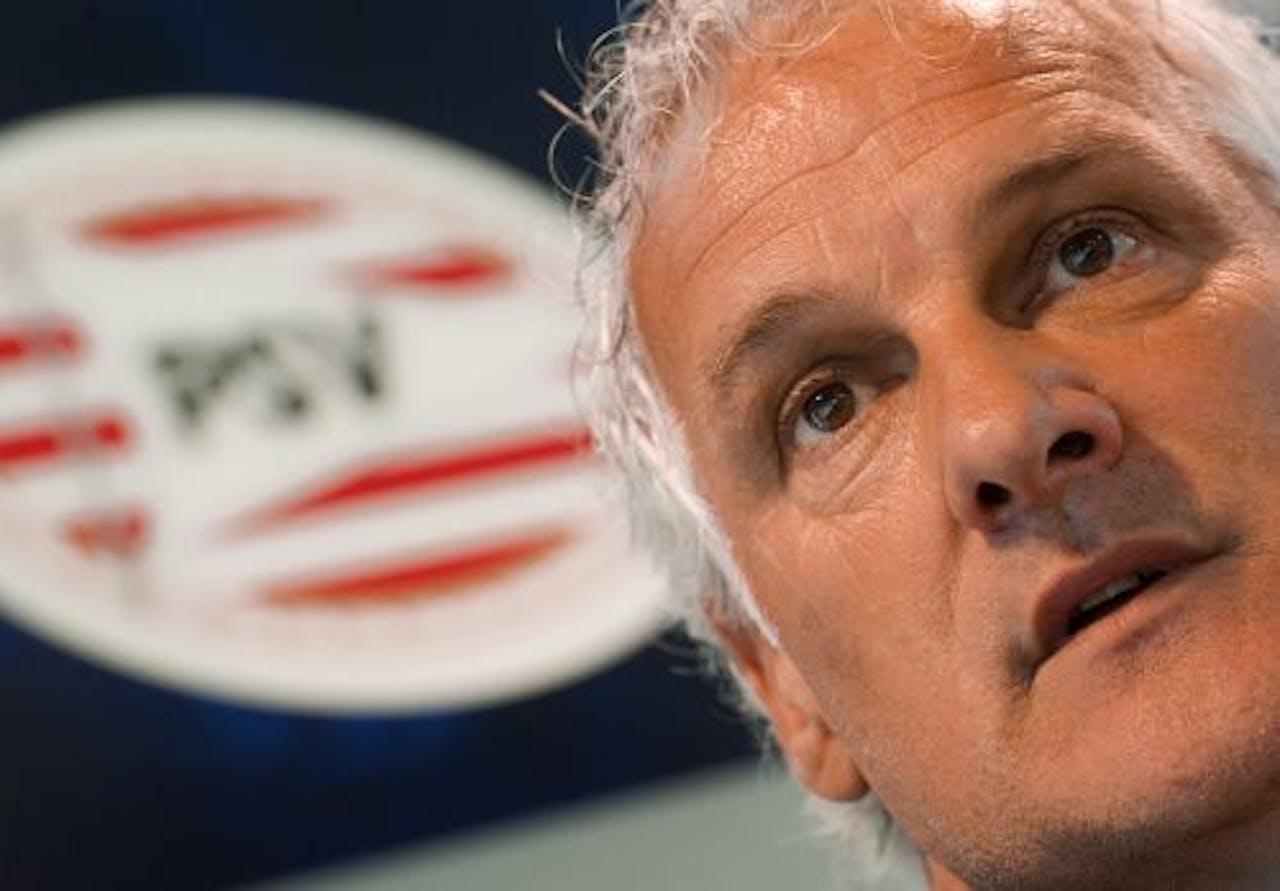 PSV-trainer Fred Rutten tijdens de persconferentie vrijdag voorafgaand aan het duel tegen FC Twente. ANP