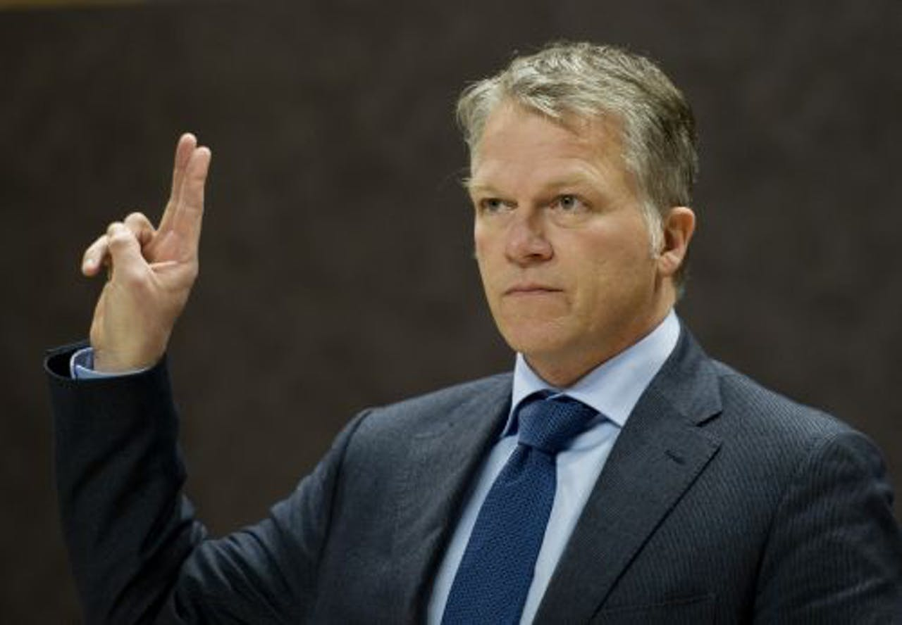 Oud-minister van Financiën Wouter Bos verschijnt voor de parlementaire enquêtecommissie. ANP