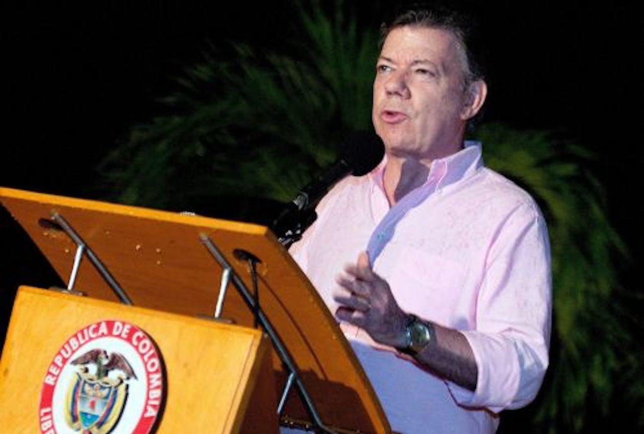 President Juan Manuel Santos bevestigt de dood van Alonso Cano. EPA