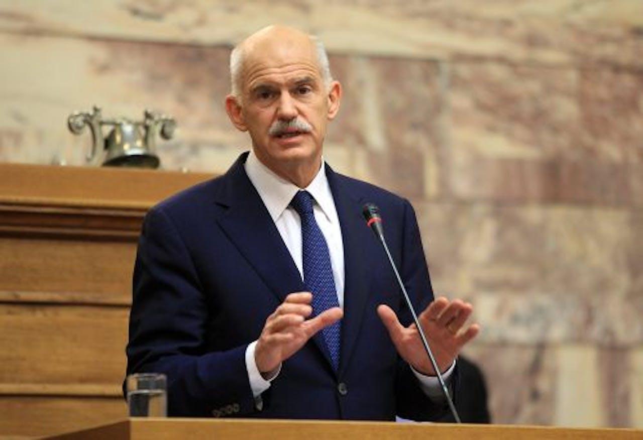 De Griekse premier Papandreou. EPA