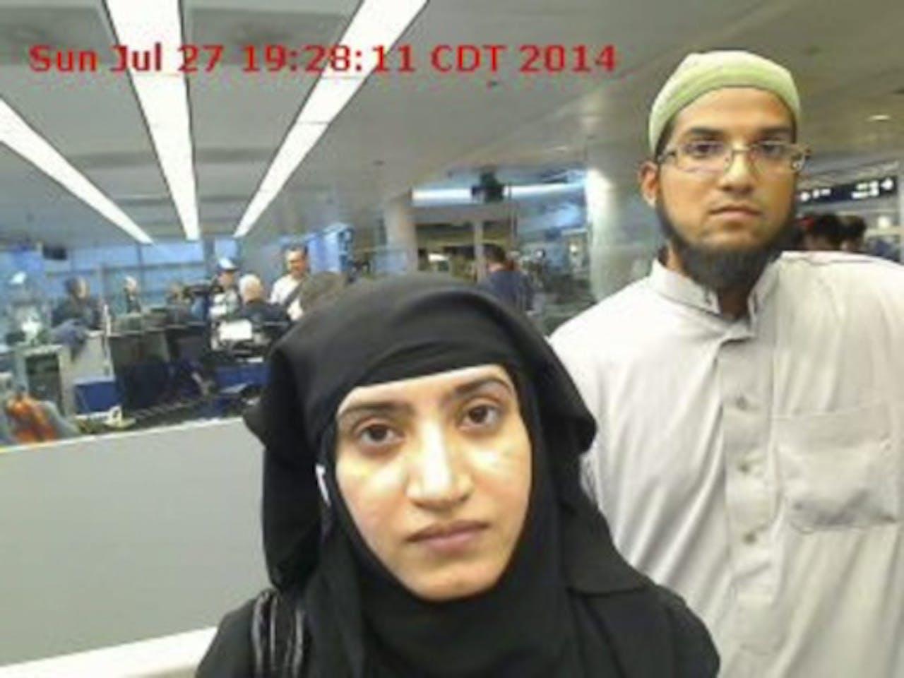 Tashfeen Malik en haar man Syed Rizwan Farook (EPA)